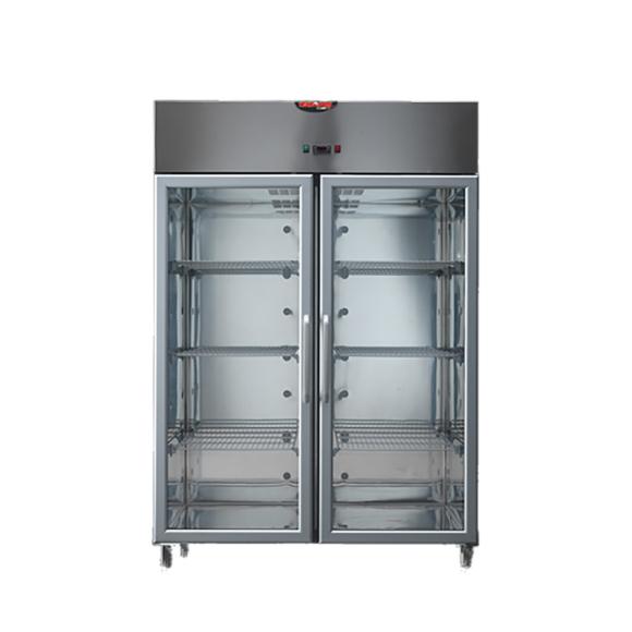 IPARI HŰTŐSZEKRÉNY, 1200 literes, rozsdamentes, légkeveréses, 2 hűtőegységgel, üvegajtóval