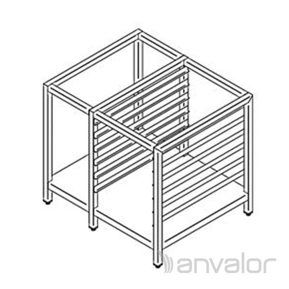 Rozsdamentes kombi sütő állvány, váz szerkezet alsó polccal, 1 sor tepsi tartó sínrendszerrel