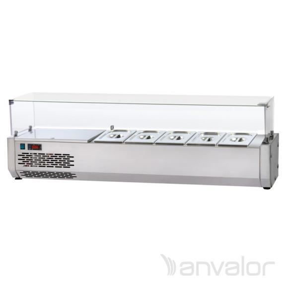 FELTÉTHŰTŐ, 1400 mm, 5xGN1/4, leheletvédővel, bal oldali hűtőegységgel