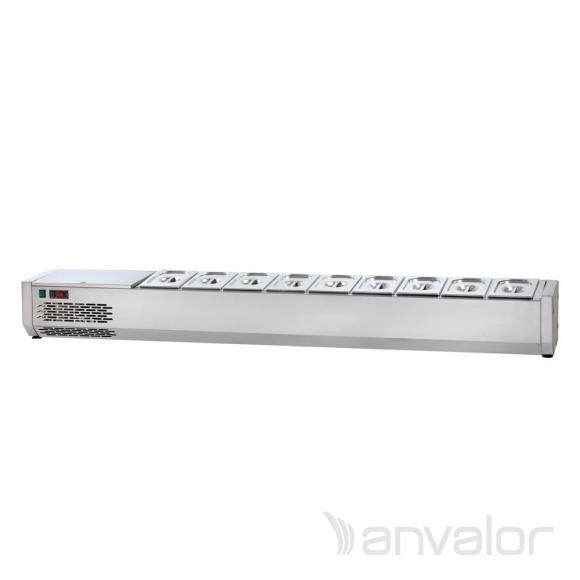 FELTÉTHŰTŐ, 2000 mm, 9xGN1/4, leheletvédő nélkül, bal oldali hűtőegységgel
