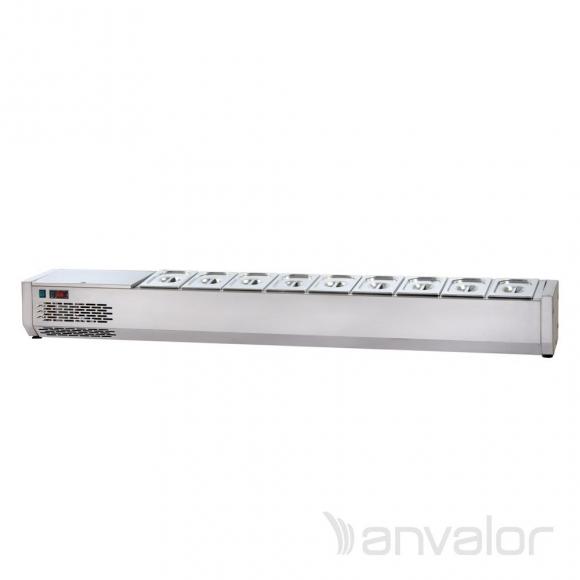 FELTÉTHŰTŐ, 1900 mm, 8xGN1/4, leheletvédő nélkül, bal oldali hűtőegységgel